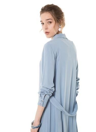 Vivencia Kemer Detaylı Uzun İndigo Tunik Mavi